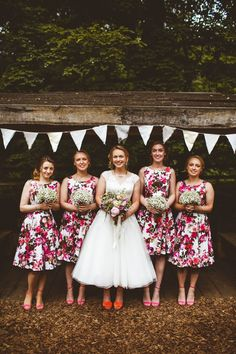 Floral Pink Bridesmaid Dresses Short Prom Pretty DIY Outdoor Village Hall Wedding https://photography34.co.uk/