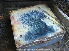 """A. Купить """"Лаванда"""" короб чайный - лаванда, короб, прованс, васильковый, букет, синий, кантри, дерево"""