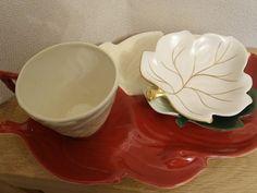 3 Carlton Ware leaf tray/ bowl + 1 cup