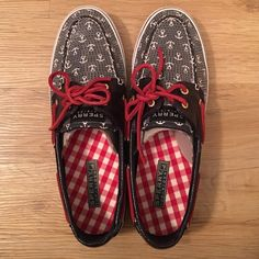 Anchor Sperry Topsider Shoes! Anchor print with sequin cover over them. Leather laces. Worn twice. In great condition. Sperry Top-Sider Shoes