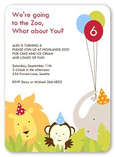 Day at the zoo childrens birthday party invitations by community party animals 5x7 invitation card birthday invitations shutterfly stopboris Choice Image
