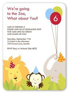 29 best zoo birthday party images on pinterest birthdays birthday party animals 5x7 invitation card birthday invitations shutterfly stopboris Image collections