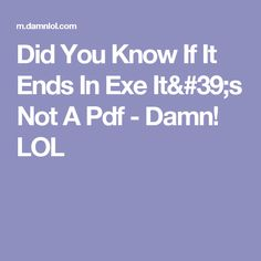 Did You Know If It Ends In Exe It's Not A Pdf - Damn! LOL