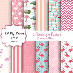 COMMERCIAL USE  You can use these for unlimited commercial use. No link back or commercial license is required. The only restriction is reselling as is. You cannot resell this as a digital paper pack. Everything else is fine.  Pink Flamingo Digital Paper  12 pink flamingo digital papers in soft pink colors. Perfect for kids, scrapbooking, card making, home decor, invitations, photo albums, crafting, website graphics, business cards, business letterhead, stationary and more. ** FILE…