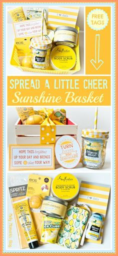 DIY Box of Sunshine To Cheer Someone UP or as a Get Well Gift Basket with Free Printables via Melly Moments - Do it Yourself Gift Baskets Ideas for All Occasions - Perfect for Christmas - Birthday or anytime! Gift Baskets it yourself basket Get Well Gift Baskets, Diy Gift Baskets, Get Well Gifts, Basket Gift, Cheer Up Basket, College Gift Baskets, Summer Gift Baskets, Thank You Gift Baskets, Raffle Baskets
