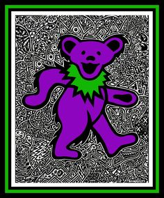 11 X 15 Grateful Dead Bear Poster  Purple Bear by DrumbumDesigns, $10.00