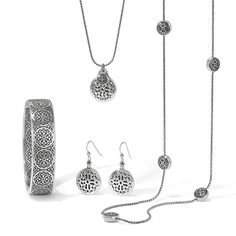 Brighton's New Ferrara collection the Thin Hinged Bangle and Petite Long Necklace work beautifully alone or with other pieces.