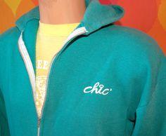 vintage 70s hoody sweatshirt CHIC jeans zip jacket teal hooded Medium soft 80s. $20.00, via Etsy.