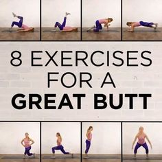 8 exercises for great butt, get in shape, butt workout,booty workout plan butt workout, butt workout at Fitness Workouts, Sport Fitness, At Home Workouts, Fitness Motivation, Health Fitness, Gym Fitness, Fitness Logo, Fitness Quotes, Fitness Style