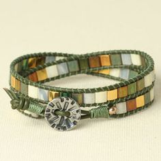 I have a bunch of these flat beads and can never come up with an idea for them so this is perfect!    Winter Pine Mosaic Wrap Bracelet