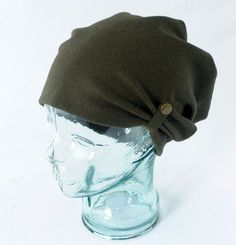 Olive Green Boiled Wool Knit Slouchy Hat Mens by rocksandsalt