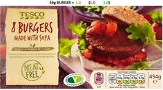 Tesco burger made with soya only each from Tesco Slimming World Tesco, Slimming World Recipes, Vegan Starters, Tesco Groceries, Organic Recipes, New Recipes, Vegetarian, Meals, Cooking