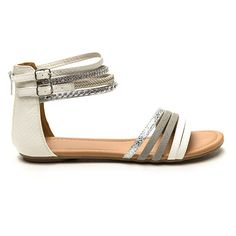 Beautiful Objects Faux Leather Sandals WHITEMULTI ($21) ❤ liked on Polyvore featuring shoes, sandals, white, braided sandals, vegan shoes, metallic strappy sandals, white strap sandals and white strappy sandals