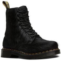 Dr. Martens Peloso Hair Calf Lace-Up Booties ($200) ❤ liked on Polyvore featuring shoes, boots, ankle booties, black, black boots, lace up boots, lace up platform booties, low heel booties and platform boots