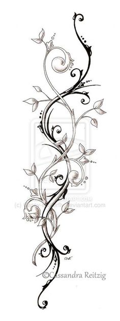 tendril tattoo, perfect spine tattoo idea maybe thinned out a bit so it fit properly and not look gooney :p Leg Tattoos, Flower Tattoos, Body Art Tattoos, Tribal Tattoos, Sleeve Tattoos, Tattoo Thigh, Side Leg Tattoo, Flower Vine Tattoos, Henna Sleeve