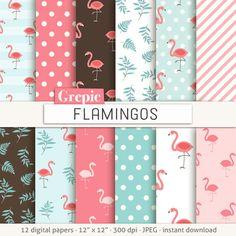 "Flamingo digital paper: ""FLAMINGOS"" pink flamingo patterns backgrounds, coral, teal, cute, project life, scrapbooking, birds, animals, kids"