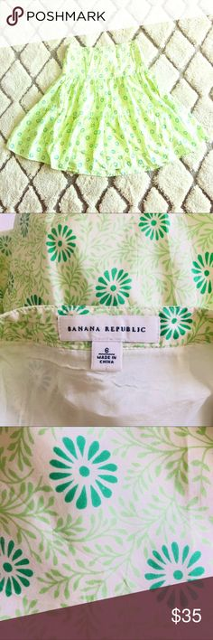 🍀Beautiful and romantic Banana Republic skirt 🍀 Banana Republic skirt in cream, two different tones of green.  Romantic and beautiful, easy to dress up or down. Extremely comfortable and fresh.  Size 6  Length 25 inches  Waist 15 inches  Feel free to ask any questions and have and make an offer! I love this skirt but it's not my size. Thank you for checking my closet! Bundle with more items for extra discounts 👌🏾🍀 Banana Republic Skirts