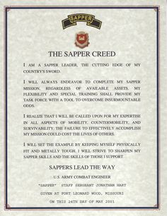 """Sapper Creed """"Combat Engineer"""" My hero, my brother the """"sapper"""". Bronze star with valor, lucky to be alive. Love you little bro <3"""
