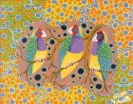 "Artist: 		KROCETTE    Title: 		""Gouldian Finches""    These birds are rare and endangered in wild.    Medium:	Acrylic on Canvas    Price: 		$590    Size: 	355 x 280mm    Signed: 		KROCETTE 2012  Kidogo Art Institute - Gallery Aboriginal Artists, Finches, Australian Artists, Home Art, Birds, Abstract, Canvas, Medium, Gallery"