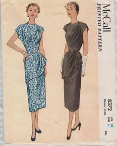 Cartamodello di McCall 1950s 8372 / Vintage / vestito /