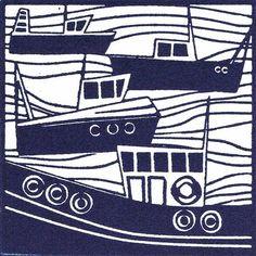 blue and white boats illustration, gravure, screenprint Linocut Prints, Art Prints, Boat Illustration, Seaside Art, Linoleum Block Printing, Boat Art, Linoprint, Tampons, Pottery Painting