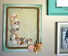 Turn old into new - using a picture frame to create a textured DIY sand and seashell monogram wall decor for your beach or coastal living space.