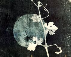 Detail ooak Monotypes: pair of Botanical Silhouettes on Vintage Dictionary Sheets. By Kelly Tankersley from 88editions... Austin, Texas,    United States
