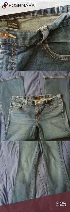 Calvin Klein Womens Flare Jean S14 Medium wash denim No fraying CK detailing on buttons EUC Waist-34 Length-30 Hips-36 Calvin Klein Jeans Jeans Flare & Wide Leg