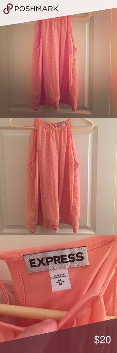 Express Tank Top. Coral, Express Tank Top.  Heart Pattern. Ties in the back. Express Tops Tank Tops