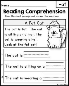 FREE Reading Comprehension Passages - Word Families & Blends by Kaitlynn Albani Reading Comprehension Passages, Comprehension Activities, Reading Fluency, Reading Intervention, Reading Skills, Teaching Reading, Kindergarten Reading Comprehension, Reading Response, Guided Reading