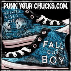 Fall Out Boy Custom Hand Painted Converse Sneakers by MAGCustoms Cool Converse, Painted Converse, Custom Converse, Converse Sneakers, Custom Shoes, Converse Outlet, Adidas Shoes, Adidas Men, Moda Masculina