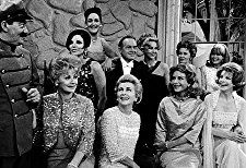 Bob Hope with Jerry Colonna and all of his leading ladies: left to right- (Back row) Joan Collins, Dorothy Lamour, Virginia Mayo, Vera Miles, Janis Paige (front row) Lucille Ball, Joan Fontaine, Hedy Lamarr and Signe Hasso, circa 1961.