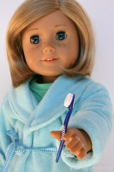 "Run to your dollar store to find a pack of 4 toothbrushes for your AG doll. Mine are Colgate ""wisp"". A white toothbrush in a red package. Love this."