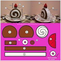This is the handmade felt cake box i did. ^_^ My Trial Cake Box. Felt Food Patterns, Plushie Patterns, Stuffed Toys Patterns, Felt Diy, Handmade Felt, Felt Cake Tutorial, Cake Templates, Felt Play Food, Felting Tutorials