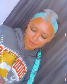 Slick Ponytail, Hair Ponytail Styles, Braided Ponytail, Curly Hair Styles, Natural Hair Styles, Natural Black Hair Color, Dyed Natural Hair, Dyed Hair, Afro