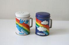 Salt and pepper tins.