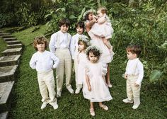 Our little flower girls and page boys who are all the children of my cousins. We designed the outfits with Andrea Jaramillo of Tres Almas Mini.