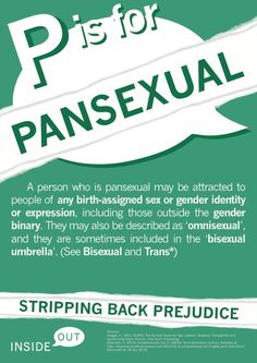"""P is for Pansexual """"A person who is pansexual may be attracted to people of any birth-assigned sex or gender identity or expression, including those outside the gender binary. They may also be described as 'omnisexual,' and they are sometimes included in the 'bisexual umbrella.' (See bisexual and trans*)"""""""