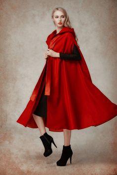 Wool Coat In Red Hooded Wool Coat Hooded Jacket Red