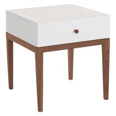 TATSUMA White 1 drawer bedside table