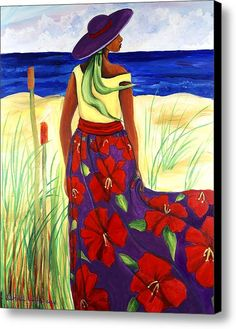 We have a special place in in our heart for beautiful southern art. One of our favorite types of southern art is Gullah Art. Based in the Lowcountry of Georgia and South Carolina, these southern… Painting People, Woman Painting, Painting Art, Fine Art Amerika, Afrique Art, African Art Paintings, Haitian Art, Caribbean Art, Art Africain