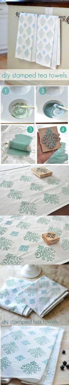 DIY stamped tea towels by terry