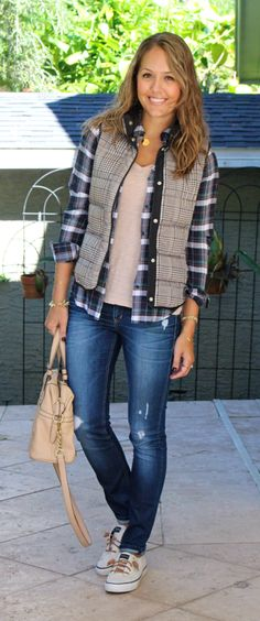 Love this layered look! I've got the vests, but not the plaid (or striped) top to layer with it.