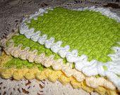 100% Cotton Shower/Bath Scrubbies or Washcloth Set of 3 Green Apple