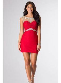2015 Sexy Homecoming Dresses Sheath/Column Red Scoop Open Back Short/Mini prom dress