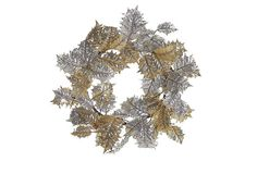"""24"""" Deluxe Mix Holly Wreath on OKL ($32 v. $65 retail)  Made of:     faux silk/glitter Size:     24""""Dia Color:     gold """"Add a wreath to your holiday scene for a touch of classic winter cheer."""""""