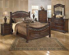 Leahlyn Warm Brown Wood Glass Bedroom Set W Queen Panel Bed