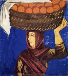 1910 Natalia Goncharova (Russian artist, 1881-1962) Woman Carrying Oranges