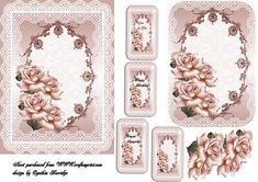 roses and lace with tags on Craftsuprint designed by Cynthia Berridge - quick card front with tags - Now available for download!