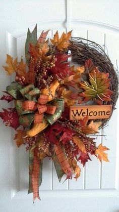 Fall Pumpkin Wreath, Grapevine Wreath, Fall Wreath, Fall Grapevine Wreath, Thanksgiving Wreath by WruffleWreathsbyLana on Etsy Thanksgiving Wreaths, Autumn Wreaths, Holiday Wreaths, Christmas Decorations, Halloween Wreaths, Mesh Wreaths, Wreath Crafts, Wreath Ideas, Fall Crafts